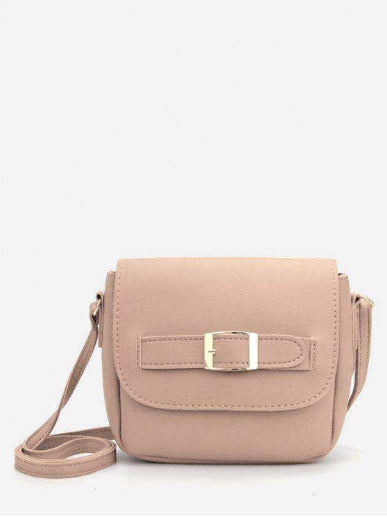 new Minimalist PU Leather Buckle Crossbody Bag - LIGHT KHAKI