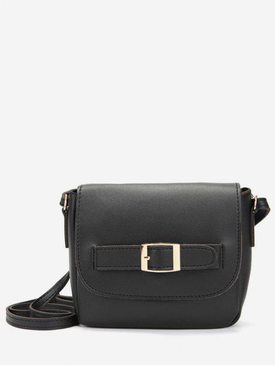 Fivela de couro minimalista PU Crossbody Bag - Preto