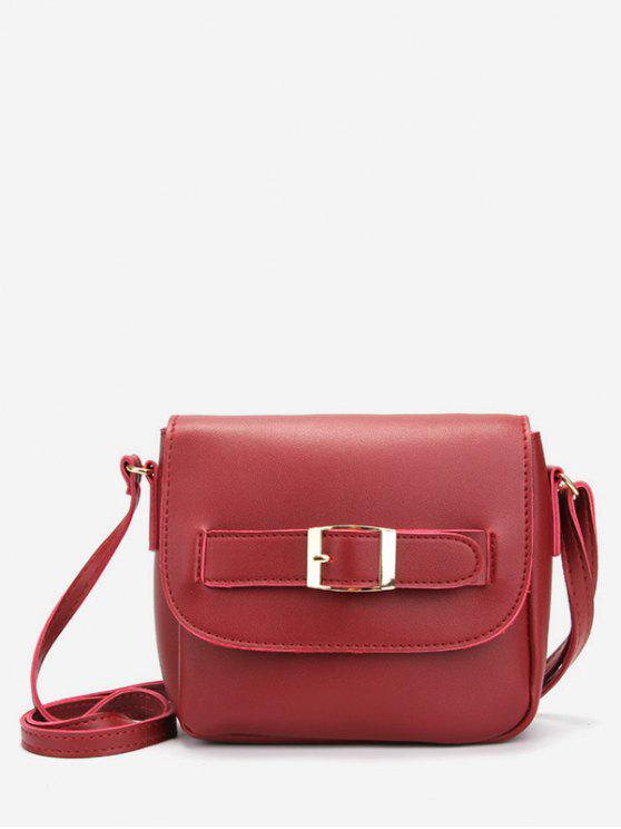 trendy Minimalist PU Leather Buckle Crossbody Bag - RED