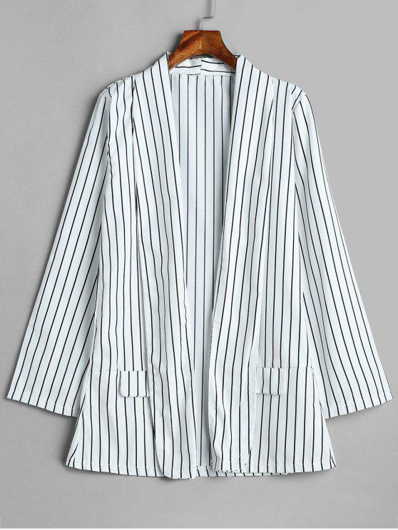 shops False Pockets Design Striped Blazer - MULTI M