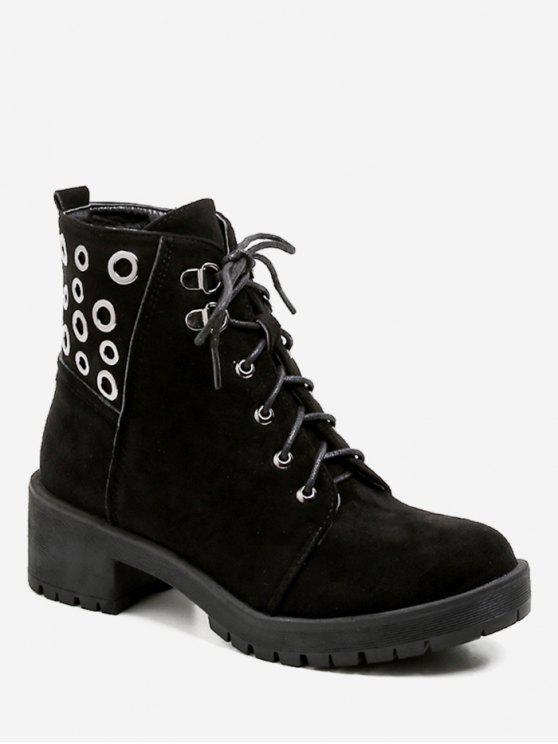 ladies Grommet Chunky Heel Short Boots - BLACK EU 36