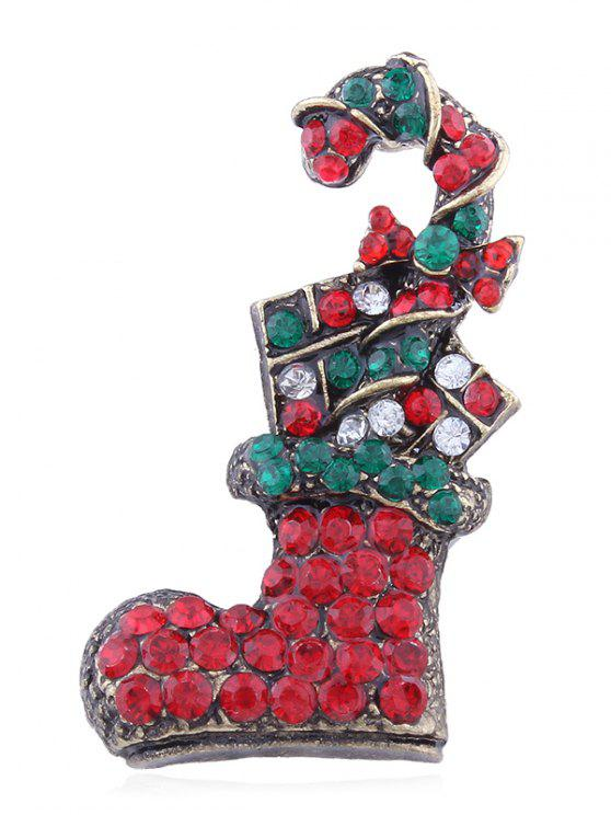 new Colored Rhinestone Christmas Sock Brooch - MULTI