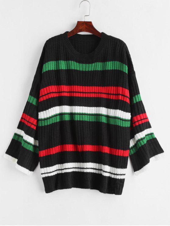 shop Stripe Oversized Sweater - BLACK ONE SIZE