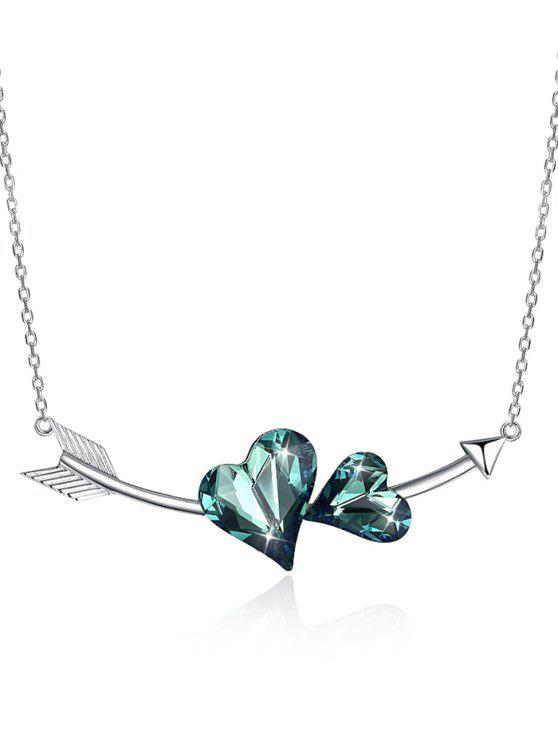 chic Vintage Crystal Heart Arrow Silver Necklace - DARK TURQUOISE