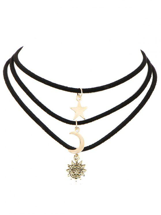 fancy Multi-layered Moon Star Sun Choker Necklace - GOLD