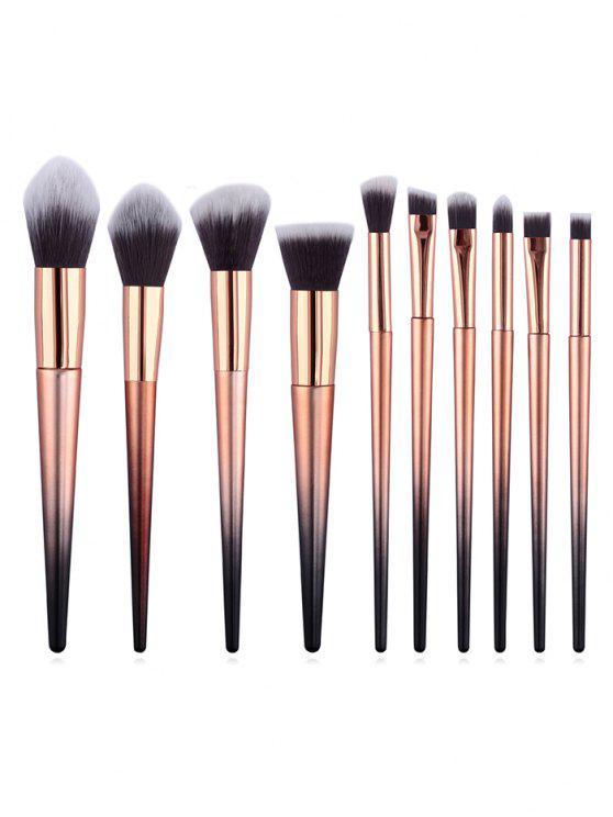 ladies 10Pcs Two Tone Handles Synthetic Fiber Hair Travel Makeup Brush Set - MULTI