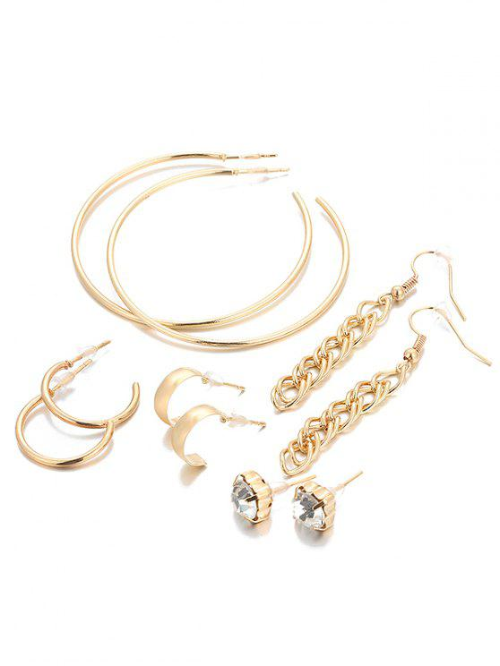 trendy Unique Rhinestone Infinity Alloy Earrings Suit - GOLD