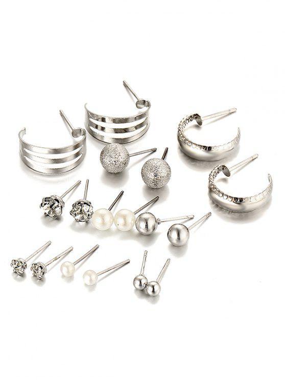 Traje de pendientes de aleación con incrustaciones de diamantes de imitación único - Plata