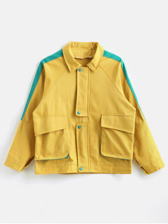 women Raglan Sleeve Color Block Pocket Jacket - GOLDENROD ONE SIZE