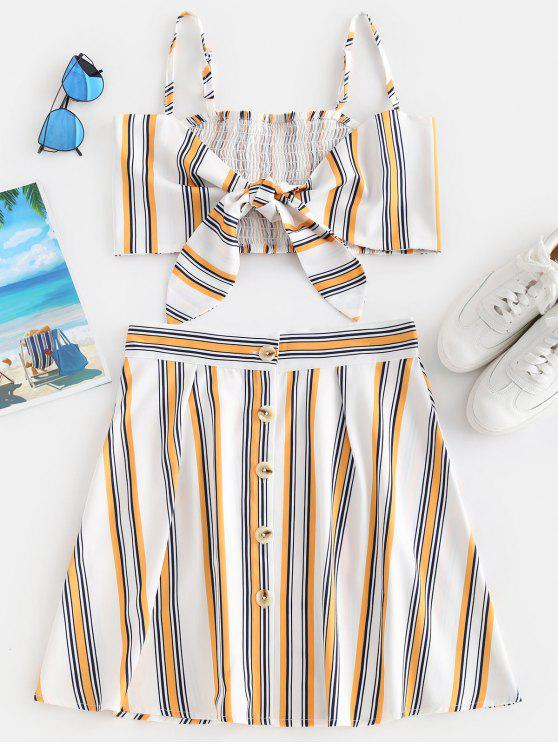best ZAFUL Striped Tie Front Button Up Skirt Set - WHITE L