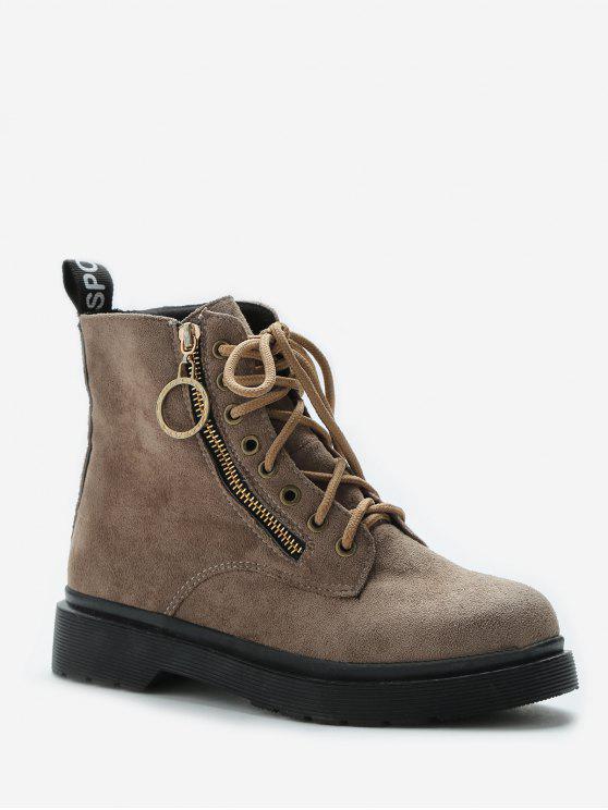buy Retro Lace Up Suede Short Boots - LIGHT KHAKI EU 39