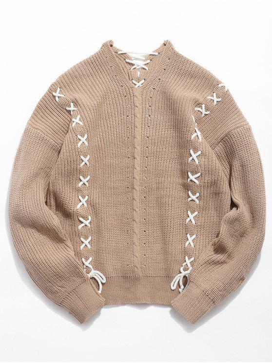 fashion Strip Criss Cross Knitted Sweater - LIGHT KHAKI M
