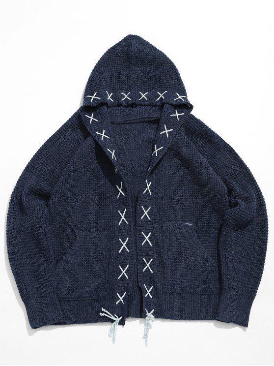 women Strip Bandage Criss Cross Cardigan - DARK SLATE BLUE L