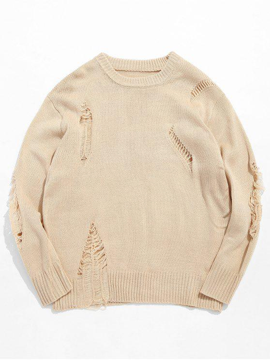 lady Casual Solid Ripped Knit Sweater - APRICOT XL