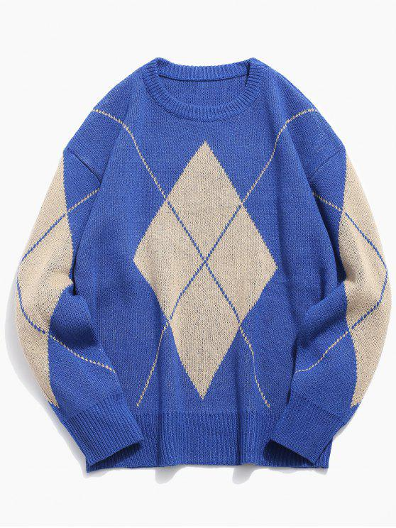 unique Diamond Knitted Crew Neck Sweater - OCEAN BLUE M