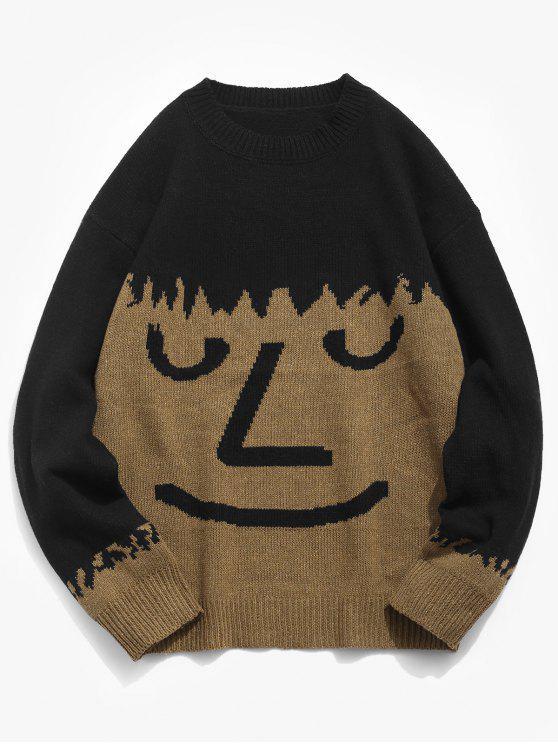 Maglione Pullover Con Motivo Di Viso - Marrone Cammello 2XL