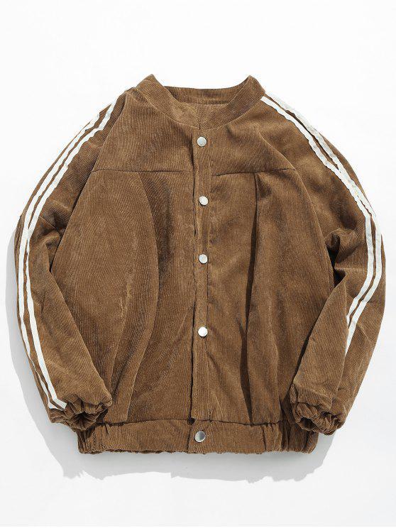 hot Side Striped Corduroy Jacket - LIGHT KHAKI 2XL