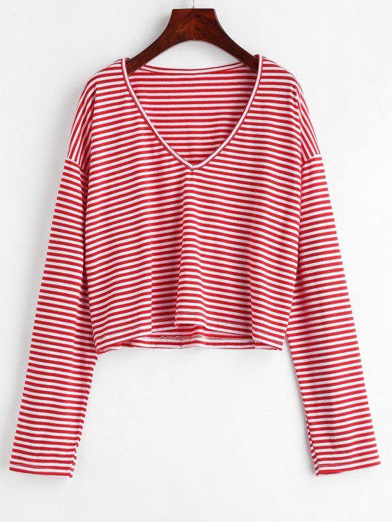 affordable V Neck Striped Tee - LAVA RED S