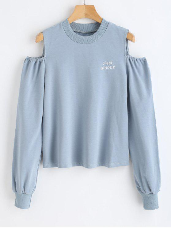 ladies Pullover Sweatshirt with Letters Embroidered - BLUE GRAY M