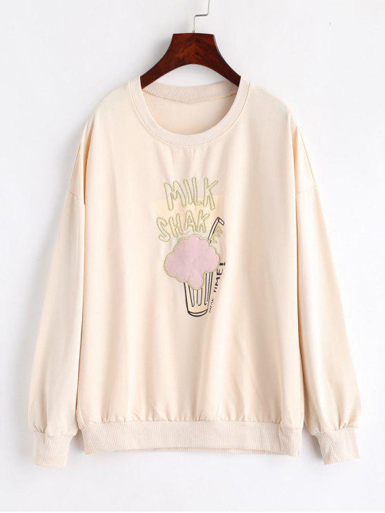 Gesticktes Drop Shoulder Tunika Sweatshirt - Aprikose L