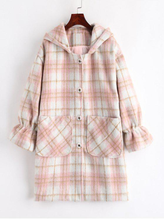 latest Plaid Hooded Coat - MULTI L