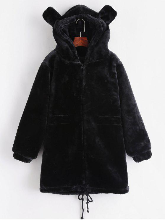 buy Faux Fur Hooded Tunic Coat - BLACK ONE SIZE