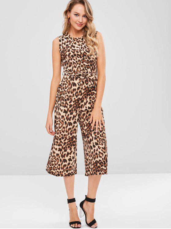 best Leopard Sleeveless Jumpsuit - LEOPARD XL