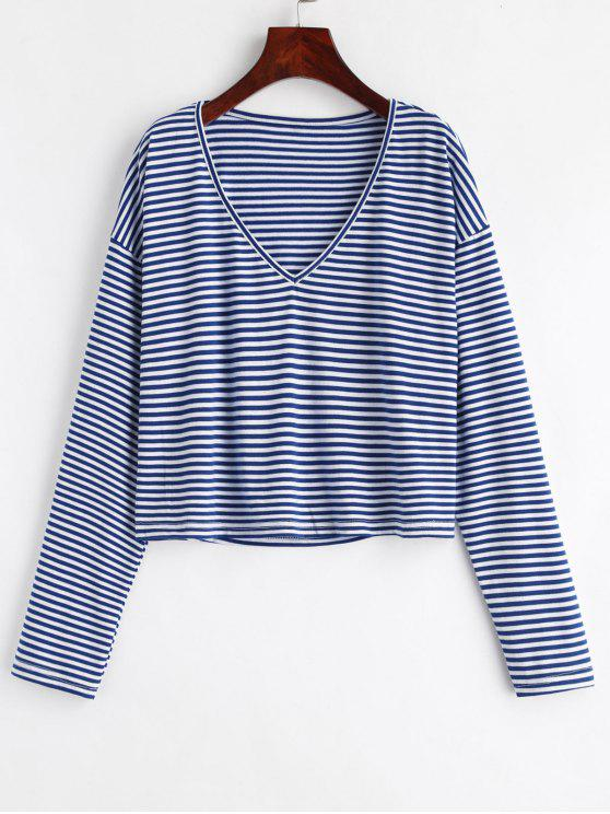 hot V Neck Striped Tee - DEEP BLUE XL
