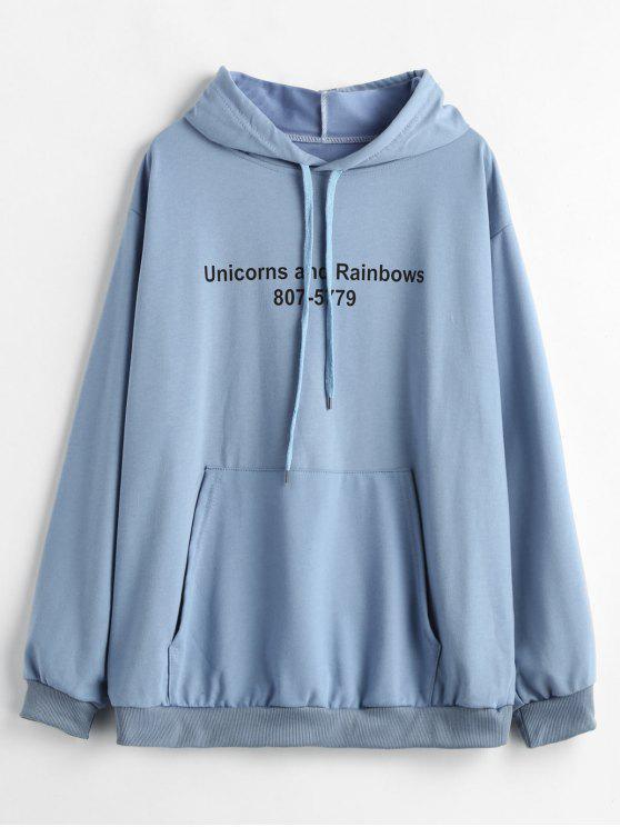Sudadera con capucha de gran tamaño y gráfico de bolsillo de Kangaroo - Azul de Koi M