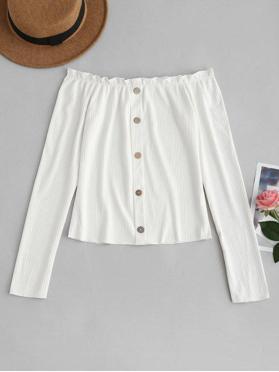 trendy Buttoned Frills Off Shoulder Tee - WHITE L