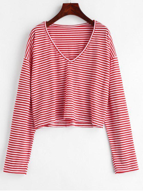 Camiseta com decote em V - Lava Vermelha M