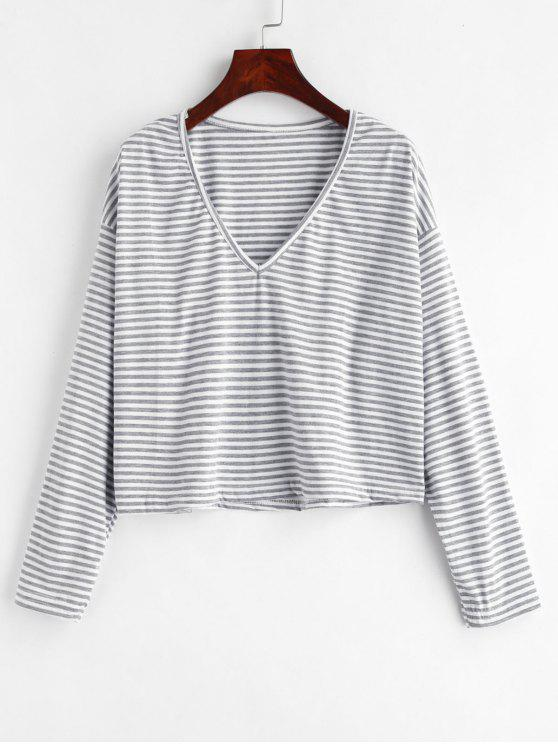 ladies V Neck Striped Tee - GRAY CLOUD M