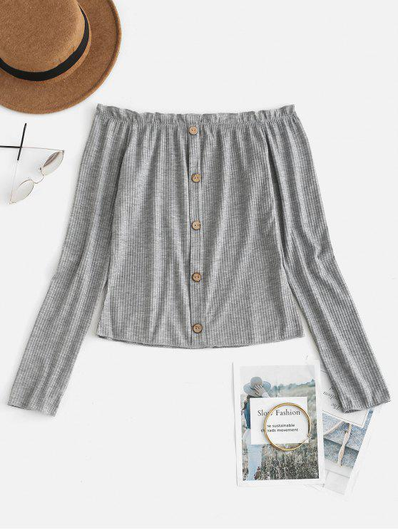 latest Buttoned Frills Off Shoulder Tee - LIGHT GRAY M