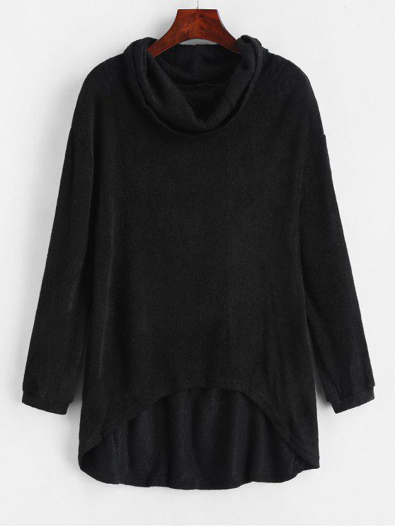lady Cowl Neck High Low Knitted Top - BLACK L