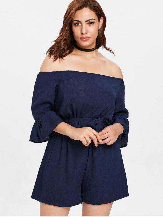fashion Belted Off Shoulder Plus Size Romper - MIDNIGHT BLUE 3X
