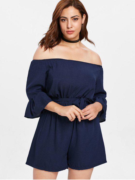 buy Belted Off Shoulder Plus Size Romper - MIDNIGHT BLUE 2X