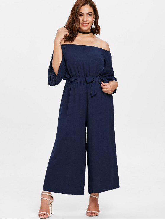 lady Off Shoulder Wide Leg Plus Size Jumpsuit - MIDNIGHT BLUE 4X