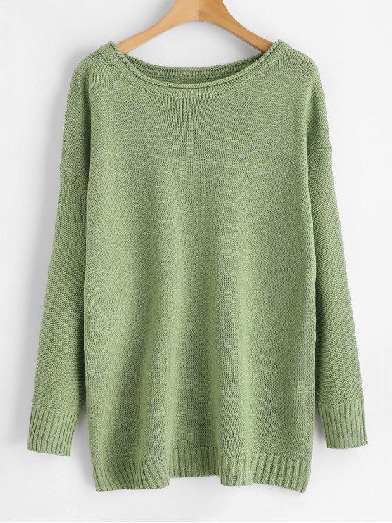 Boat Neck Boyfriend Pullover - Grün Eine Größe
