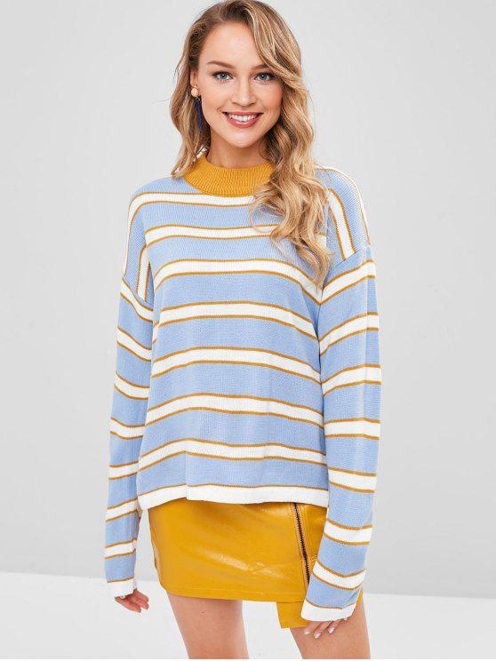 fancy Striped Tricolor Drop Shoulder Sweater - MULTI ONE SIZE