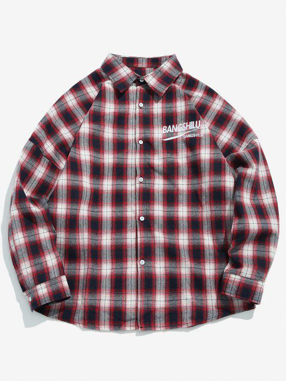 women's Casual Embroidered Letter Plaid Shirt - RED L