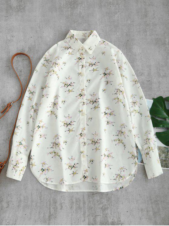 lady Buttoned Deep Cuffs Floral Shirt - WHITE L
