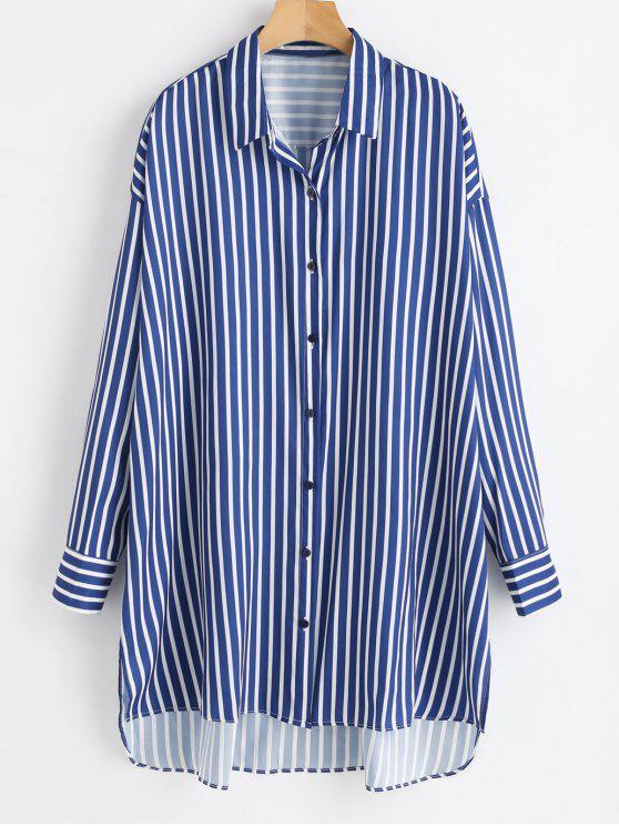 shop High Low Striped Longline Shirt - MULTI M
