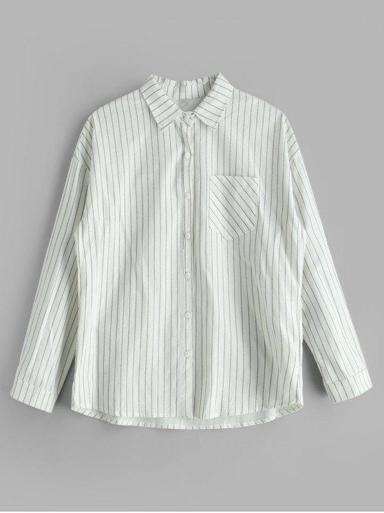 fashion Striped Pocket Drop Shoulder Shirt - WHITE L
