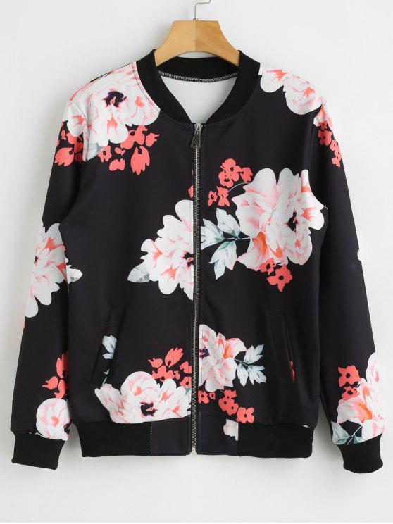 Zip Up Flower Jacket - Negro XL