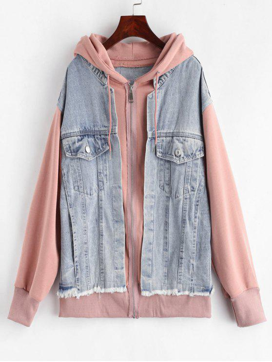 lady Denim Panels Hooded Jacket - MULTI ONE SIZE