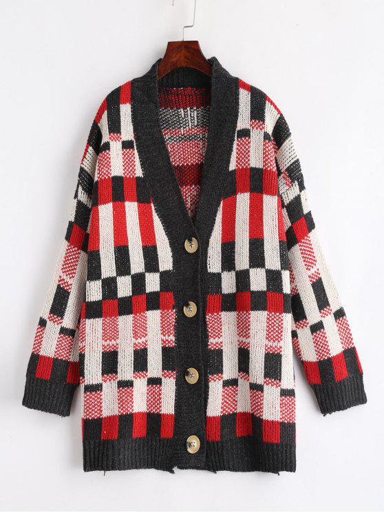 best Contrast Plaid Tunic Cardigan - MULTI ONE SIZE