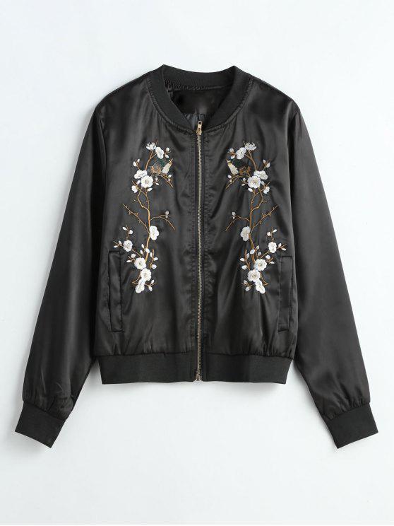 hot Floral Embroidered Bomber Jacket - BLACK ONE SIZE