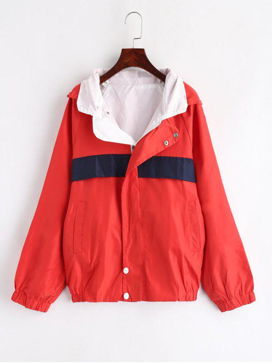 new Reversible Hooded Jacket - BEAN RED M