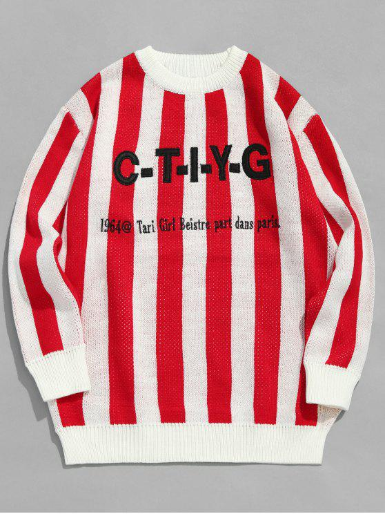 sale Applique Letters Striped Knitted Sweater - RED XL