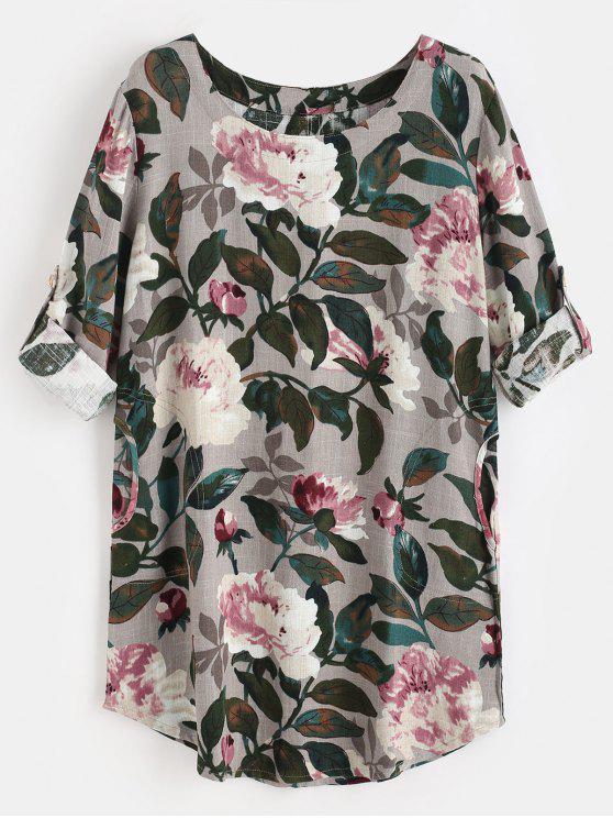 Vestido de túnica floral de linho - Multi Um Tamanho